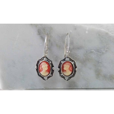 Finishing Touch Peach Cameo in Frame French Wire Earrings