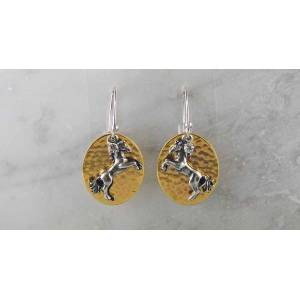 Finishing Touch Fluffy Tail Horse On Oval Disc Wire Earrings