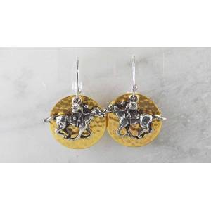 Finishing Touch Thoroughbred Racer On Round Disc French Wire Earrings