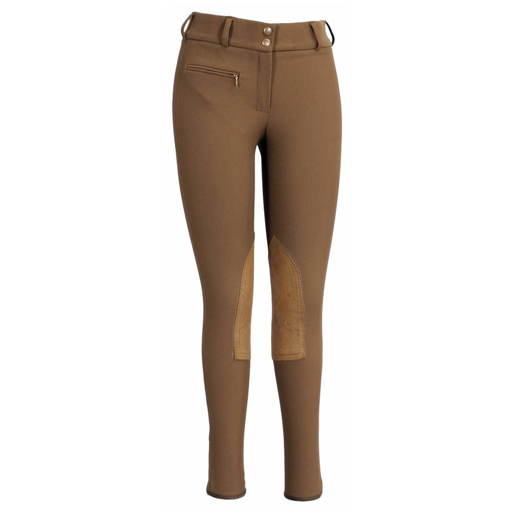 TuffRider Ladies Ribb Wide Waistband Knee Patch LR Riding Breech