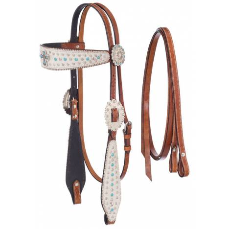 Silver Royal Desert Hope Cross White Hair Overlay Headstall with Reins