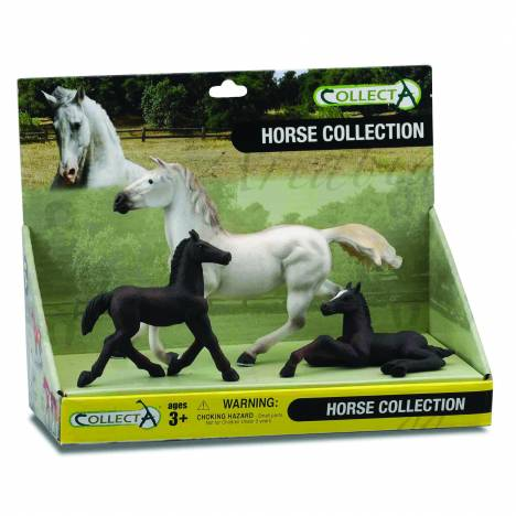 CollectA Grey Horse and 2 Black Foals