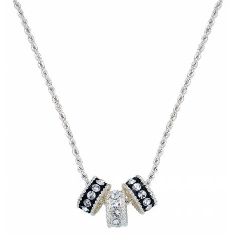 Montana Silversmiths Three Crystal And Black Rings Necklace