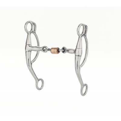 Turn-Two Stainless Steel 3-Piece Copper Roller Double Rein Bit