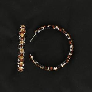 Blazin Roxx Leopard Crystal Hoop Earrings