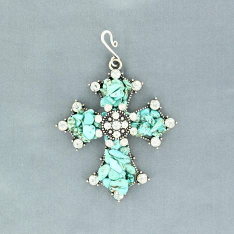 Western Charm Cross with Crystals Hook Pendant