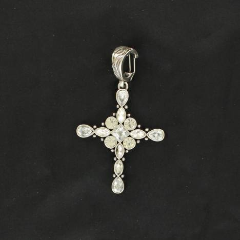 Western Charm Crystal Oval Cross Pendant