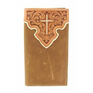 Nocona Mens Rodeo Tooled Overlay Wallet
