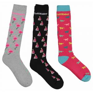 Tuffrider Flamingo/Boat/Horse Socks - Ladies, 3 Pk