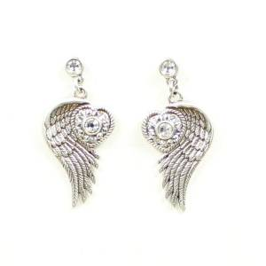 Lightning Ridge Wing/Heart Crystal Earring