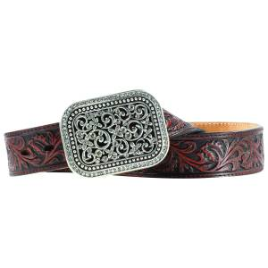 Ariat Rhinestone Filagree Belt - Ladies, Dark Brown