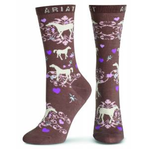 Ariat Horse Love Crew Socks - Ladies Taupe