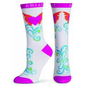 Ariat Winged Heart Crew Socks - Ladies, White