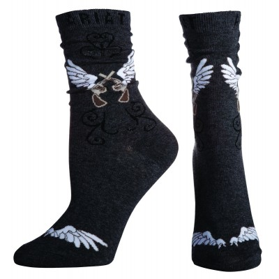 Ariat Wings Crew Socks - Ladies, Charcoal