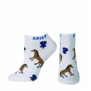 Ariat Blue Ribbon No Show Socks - Ladies, White