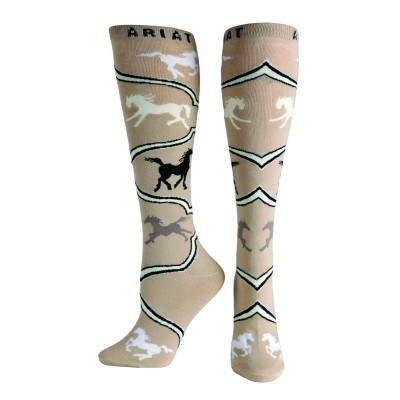 Ariat Spirited Horse Knee High Socks - Ladies, Pebble Brown