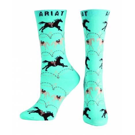 Ariat Saddle Up Crew Socks - Ladies, Blue