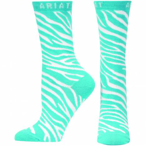 Ariat Zebra Stripe Crew Socks - Ladies, Blue