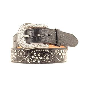 Ariat Croc Print Floral Scroll Belt - Ladies