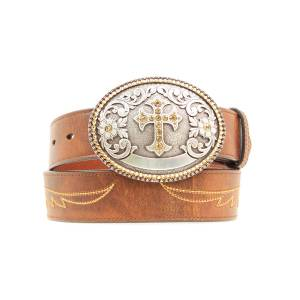 Ariat Crystal Cross with Wings Belt - Ladies