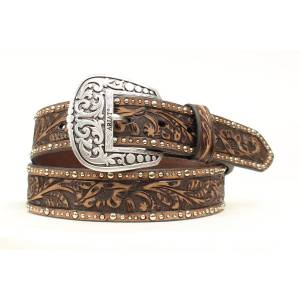 Ariat Tooled Floral Nailhead  Belt - Ladies, Brown