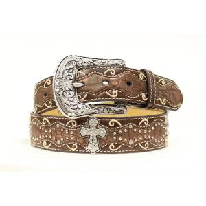 Ariat Patent Inlay Crystal Cross Belt - Ladies