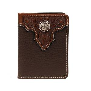 ARIAT Mens Bi-Fold/Pass Case with  Tooled Overlay