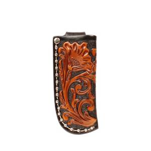 Nocona Crystal Floral Embosed Knife Sheath
