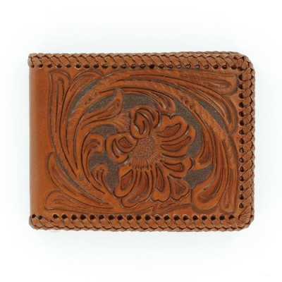 Nocona Bifold Tooled Laced Edge Wallet