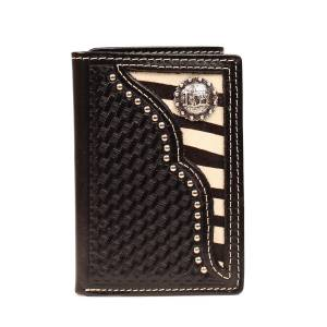 Nocona Mens Tri-fold with  Zebra and Concho