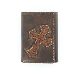 Nocona Mens Tr-fold with  Diagonal Cross