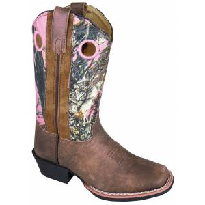 Smoky Mountain Mesa Square Toe Boots - Kids, Brown/Pink Camo