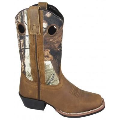 Smoky Mountain Mesa Square Toe Boots - Youth, Brown/Brown Camo