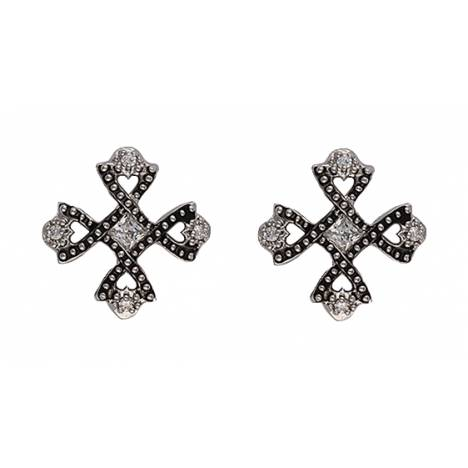 Montana Silversmiths Antiqued Crystal Braided Cross Earrings