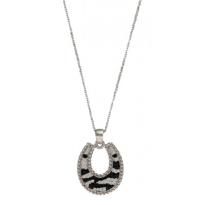 Montana Silversmiths Candied Collection Horseshoe with Zebra Stripes Necklace