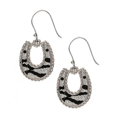 Montana Silversmiths Candied Collection Horseshoes with Zebra Stripes Earrings