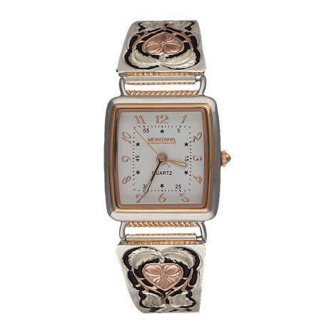 Montana Silversmiths Rose Gold Hearts of Gold Ladies Expansion Band Watch