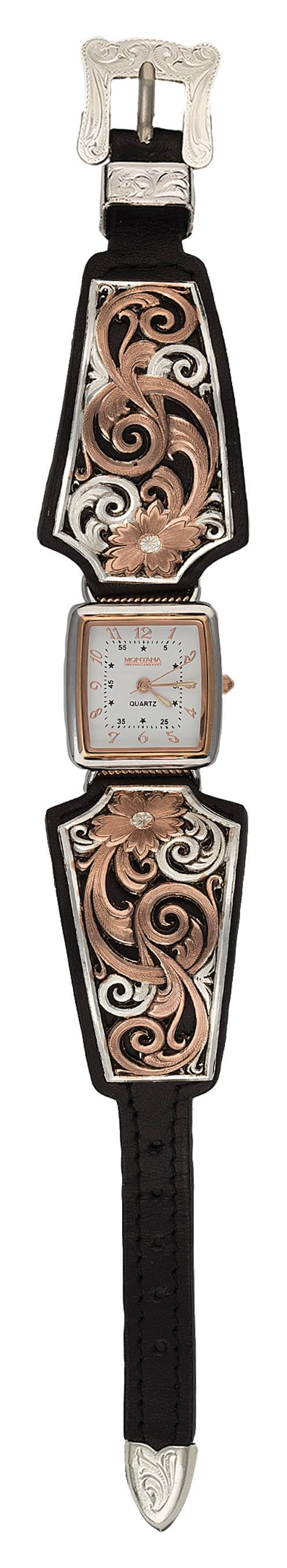 a59b09a1c Montana Silversmiths Rose Gold Vintage West Ladies Black Leather Band Watch