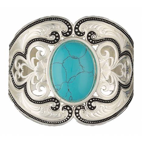 Montana Silversmiths Silver Pinpoints Western Lace Cuff Bracelet with Turquoise