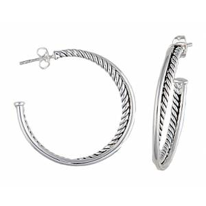 Montana Silversmiths Twisted Rope and Wire Three Quarter Hoop Earrings