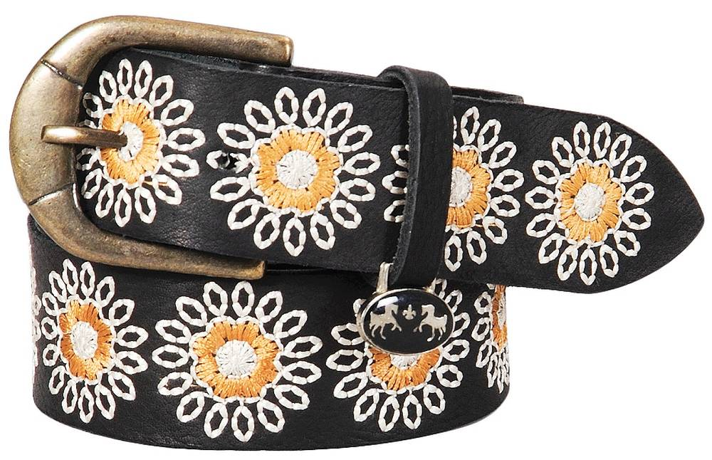 Equine Couture Marie Leather Belt with White and Gold Flower Pattern