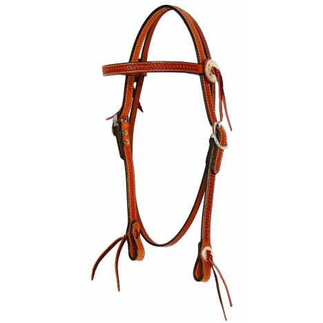 Circle Y Rope Edge Slotted Concho Browband Headstall