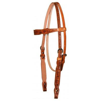 Circle Y Shaped Floral Tooled Browband Headstall