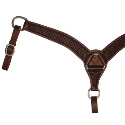 Circle Y Roper Waffle Tooled Shaped Breast Collar