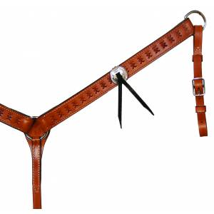 Circle Y Straight Spider Tooled Breast Collar