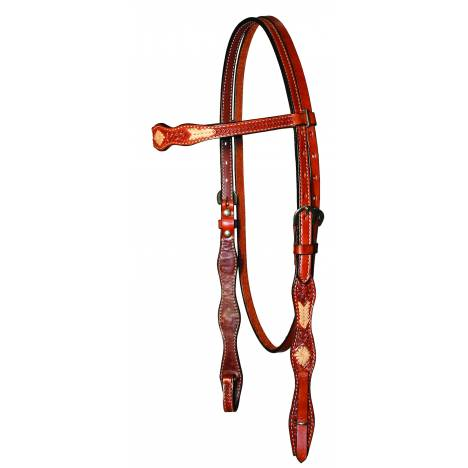 Circle Y Rawhide Lace Hand Tooled Browband Headstall