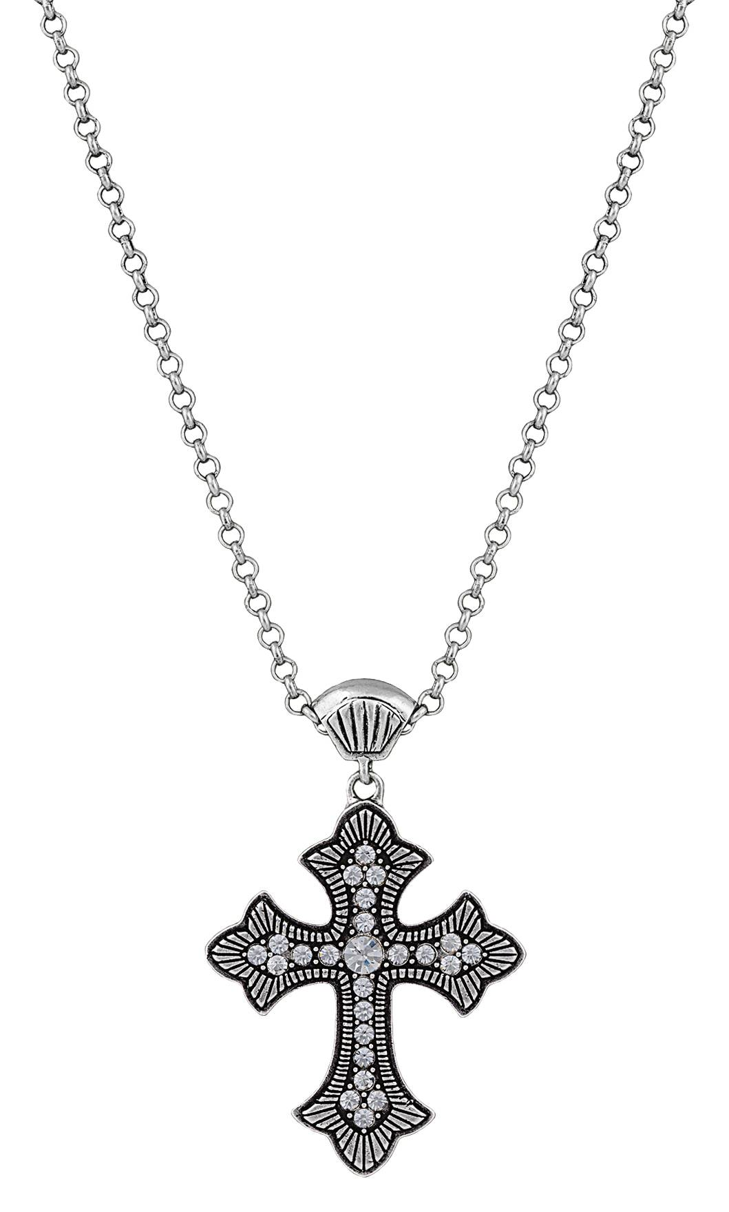 Rock 47 Vintage Kitsch Rope and Rhinestone Cross Necklace