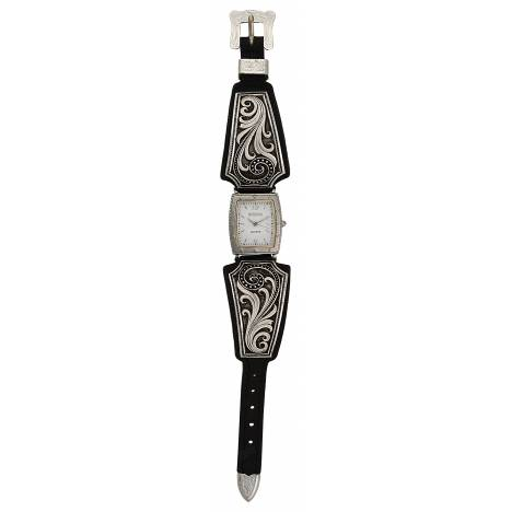 Montana Silversmiths Western Lace Whisper Classic Leather Band Watch