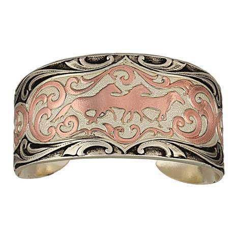 Montana Silversmiths Antiqued Two Tone Copper Horses Cameo Cuff Bracelet