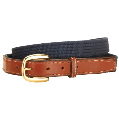 Tory Leather Web Belt with Leather Billets
